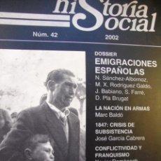 Libros de segunda mano: HISTORIA SOCIAL Nº 42 (2002): EMIGRACIONES ESPAÑOLAS. Lote 42030965