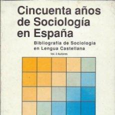 Libros de segunda mano: CINCUENTA AÑOS DE SOCIOLOGÍA EN ESPAÑA, DEPARTAMENTO DE SOCIOLOGÍA DE LA UNIV. DE MÁLAGA 1989. Lote 43292540