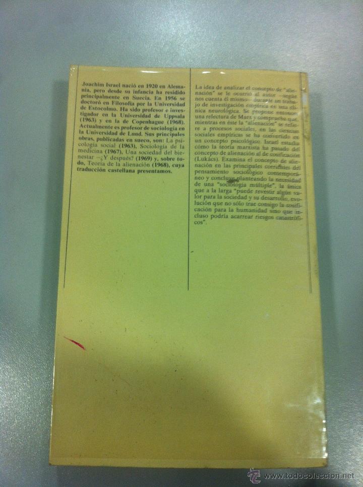 Libros de segunda mano: TEORIA DE LA ALIENACION - JOACHIN ISRAEL - EDICIONES PENINSULA - BARCELONA - 1977 - - Foto 2 - 43505911