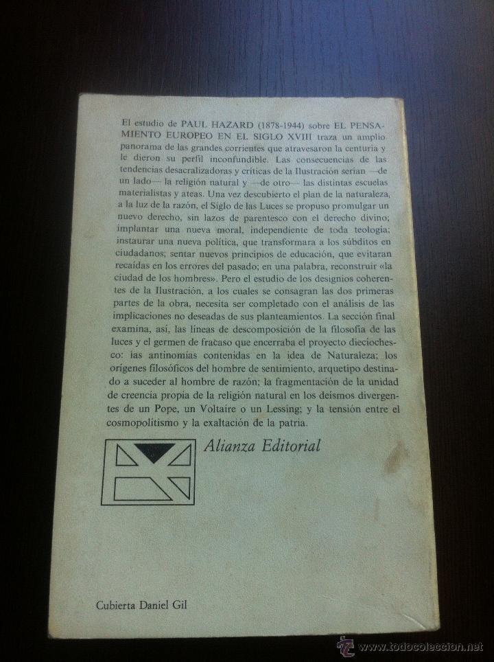 Libros de segunda mano: EL PENSAMIENTO EUROPEO EN EL SIGLO XVIII - PAUL HAZARD - ALIANZA UNIVERSIDAD - MADRID - 1985 - - Foto 2 - 43721269