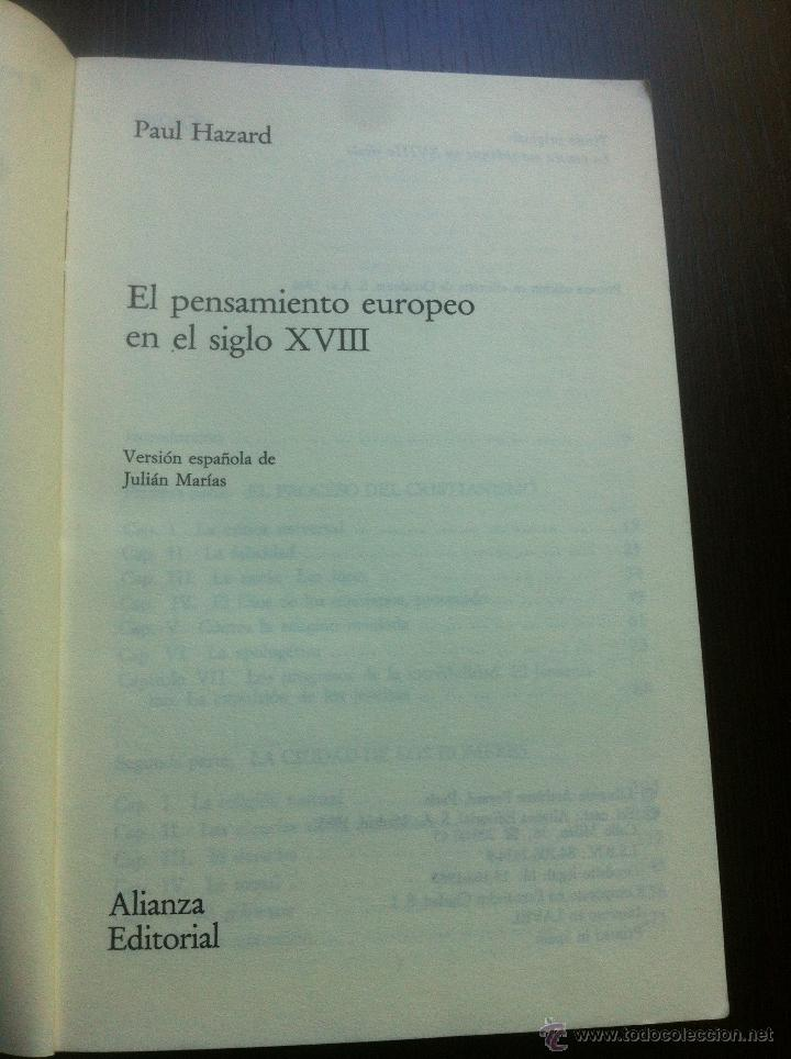 Libros de segunda mano: EL PENSAMIENTO EUROPEO EN EL SIGLO XVIII - PAUL HAZARD - ALIANZA UNIVERSIDAD - MADRID - 1985 - - Foto 3 - 43721269