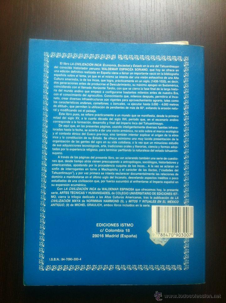 Libros de segunda mano: LA CIVILIZACION INCA - ECONOMIA, SOCIEDAD Y ESTADO EN EL UMBRAL DE LA CONQUISTA HISPANA - WALDEMAR E - Foto 2 - 44395462