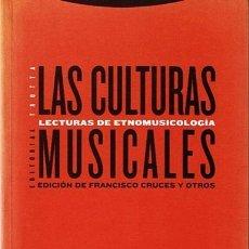 Libros de segunda mano: LAS CULTURAS MUSICALES LECTURAS DE ETNOMUSICOLOGIA FRANCISCO CRUCES. Lote 44519161