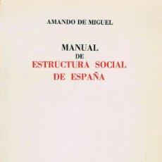 Libros de segunda mano: MANUAL DE ESTRUCTURA SOCIAL DE ESPAÑA. MADRID : TECNOS, 1974. 16.5X24. RÚSTICA FATIGADA. LIBRO. . NO. Lote 44801413