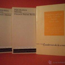 Libros de segunda mano: PSICOLOGÍA SOCIAL. JIMÉNEZ BURILLO / ESTADÍSTICA APLICADA A LAS CIENCIAS SOCIALES. EJERCICIOS RESUE. Lote 48504043