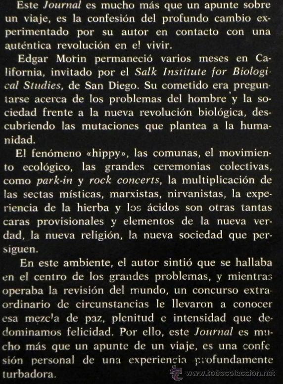 Libros de segunda mano: DIARIO DE CALIFORNIA - EDGAR MORIN - FILOSOFÍA SOCIOLOGÍA PENSAMIENTO - SOCIEDAD COMUNAS ETC - LIBRO - Foto 2 - 48895422