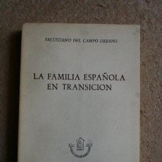 Libros de segunda mano: LA FAMILIA ESPAÑOLA EN TRANSICIÓN. CAMPO URBANO (SALUSTIANO DEL) 1960. CUADERNOS DE INVESTIGACIÓN,. Lote 49434688