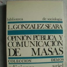 Libros de segunda mano: OPINIÓN PÚBLICA Y COMUNICACIÓN DE MASAS. GONZÁLEZ SEARA, L. 1968. Lote 49974133