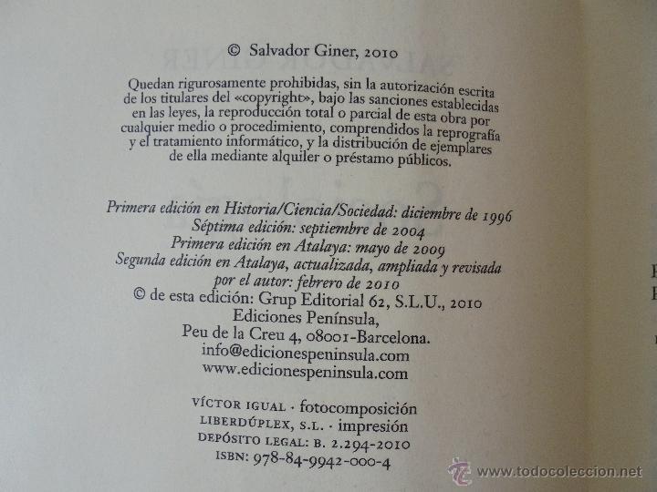 Libros de segunda mano: SOCIOLOGIA. SALVADOR GINER. ED, PENINSULA. - Foto 8 - 50600263
