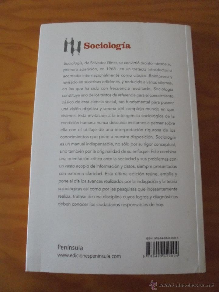 Libros de segunda mano: SOCIOLOGIA. SALVADOR GINER. ED, PENINSULA. - Foto 19 - 50600263
