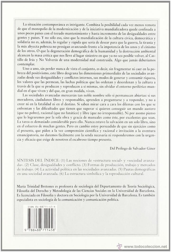 Libros de segunda mano: Sociedades avanzadas. Manual de estructura social. María Trinidad Bretones. HACER Ed. 2001 Rareza! - Foto 2 - 113726579