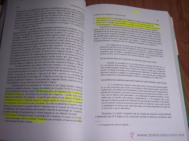 Libros de segunda mano: SOCIOLOGIA DE LEMPRESA (MÀRIUS DOMÍNGUEZ/SALVADOR CARRASCO/+6) - UNIVERSITAT DE BARCELONA (CATALÁN) - Foto 3 - 54991858
