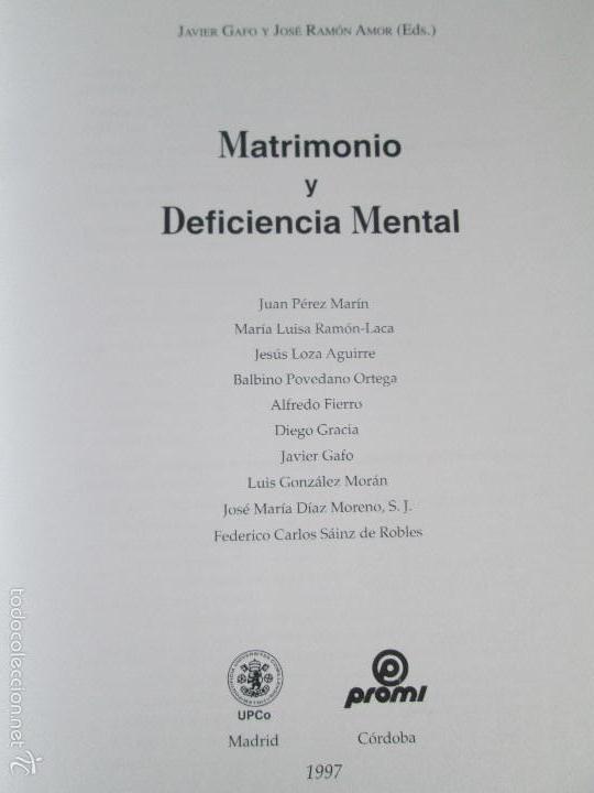 Libros de segunda mano: LA ETICA ANTE EL TRABAJO DEL DEFICIENTE MENTAL. MATRIMONIO Y DEFICIENCIA MENTAL. 2 LIBROS - Foto 22 - 57256113