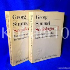 Libros de segunda mano: GEORG SIMMEL ·· SOCIOLOGIA ·· 2 VOL. ·· ESTUDIOS SOBRE LAS FORMAS DE SOCIALIZACIÓN ·· 1977. Lote 57490660