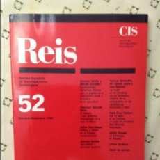 Libros de segunda mano: REVISTA ESPAÑOLA DE INVESTIGACIONES SOCIOLÓGICAS - Nº52 (OCTUBRE-DICIEMBRE 1990). Lote 58661743