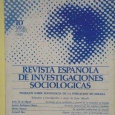 Libros de segunda mano: REVISTA ESPAÑOLA DE INVESTIGACIONES SOCIOLOGICAS (REIS) Nº 10 - CIS, ABRIL-JUNIO 1980 - BUEN ESTADO. Lote 61510239