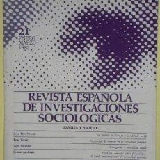 Libros de segunda mano: REVISTA ESPAÑOLA DE INVESTIGACIONES SOCIOLOGICAS (REIS) Nº 21 - CIS, ENERO-MARZO 1983 - BUEN ESTADO. Lote 61510415