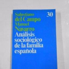 Libros de segunda mano: ANALISIS SOCIOLOGICO DE LA FAMILIA ESPAÑOLA. SALUSTIANO DEL CAMPO/MANUEL NAVARRO TDK23. Lote 35872503