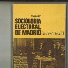 Libros de segunda mano: SOCIOLOGÍA ELECTORAL DE MADRID. JAVIER TUSELL. Lote 84681088