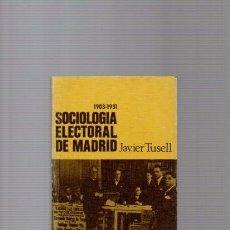 Libros de segunda mano: SOCIOLOGIA ELECTORAL DE MADRID 1903 / 1931 - JAVIER TUSELL - CUADERNOS PARA EL DIALOGO 1969. Lote 88986424