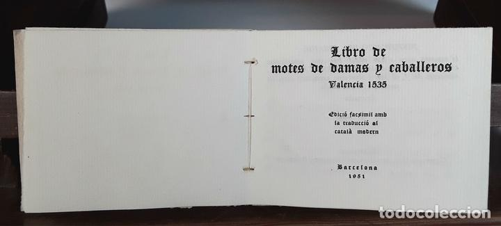 LIBRO DE MOTES DE DAMAS Y CABALLEROS. VALENCIA 1535. EDICIÓ FACSÍMÍL. EDICIONS TORCULUM. 1951. (Libros de Segunda Mano - Pensamiento - Sociología)