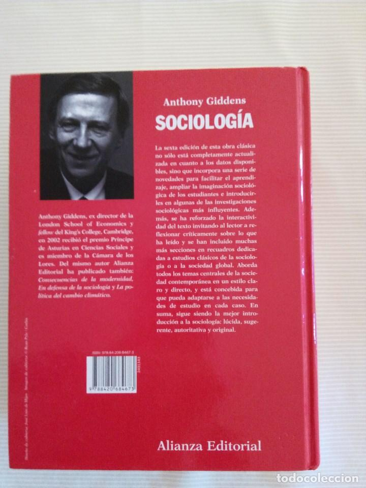 Libros de segunda mano: SOCIOLOGIA, DE ANTHONY GIDDENS, ALIANZA, SEXTA EDICIÓN - Foto 2 - 141686544