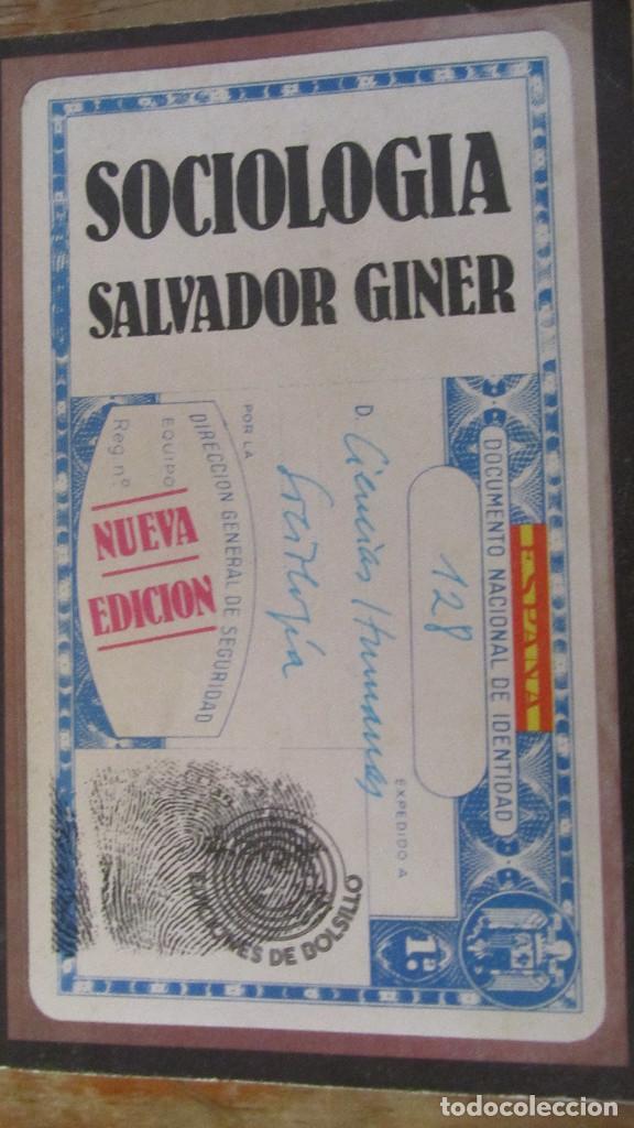 SOCIOLOGÍA DE SALVADOR GINER (EDICIONES DE BOLSILLO) (Libros de Segunda Mano - Pensamiento - Sociología)