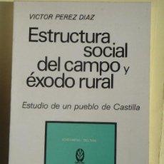 Libros de segunda mano: ESTRUCTURA SOCIAL DEL CAMPO Y EXODO RURAL - VICTOR PEREZ DIAZ - TECNOS, 1972 (COMO NUEVO). Lote 98087635