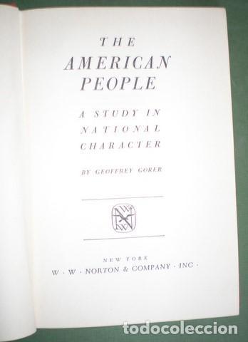 GORER, GEOFFREY: THE AMERICAN PEOPLE. A STUDY IN NATIONAL CHARACTER (Libros de Segunda Mano - Pensamiento - Sociología)