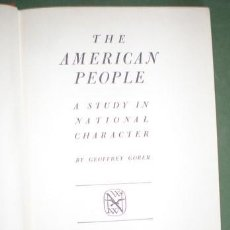 Second hand books - GORER, GEOFFREY: THE AMERICAN PEOPLE. A STUDY IN NATIONAL CHARACTER - 100156379