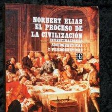Libros de segunda mano: EL PROCESO DE LA CIVILIZACION - INVESTIGACIONES SOCIOGENETICAS Y PSICOGENETICAS - NORBERT ELIAS. Lote 101220071