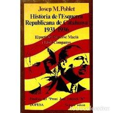 Libros de segunda mano: HISTORIA DE L' ESQUERRA REPUBLICANA A CATALUNYA - JOSEP MARIA POBLET GUARRO - DOPESA - PINYA DE ROSA. Lote 103774503