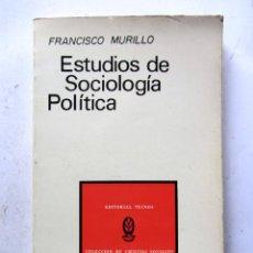 Libros de segunda mano: ESTUDIOS DE SOCIOLOGÍA POLÍTICA. FRANCISCO MURILLO. EDITORIAL TECNOS 1972. 214 PAGS.. Lote 108730816