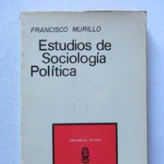Libros de segunda mano: ESTUDIOS DE SOCIOLOGÍA POLÍTICA. FRANCISCO MURILLO. EDITORIAL TECNOS 1972. 214 PAGS.. Lote 110464824
