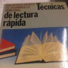Libros de segunda mano: DEUSTO: TÉCNICAS DE LECTURA RAPIDA. Lote 113424892