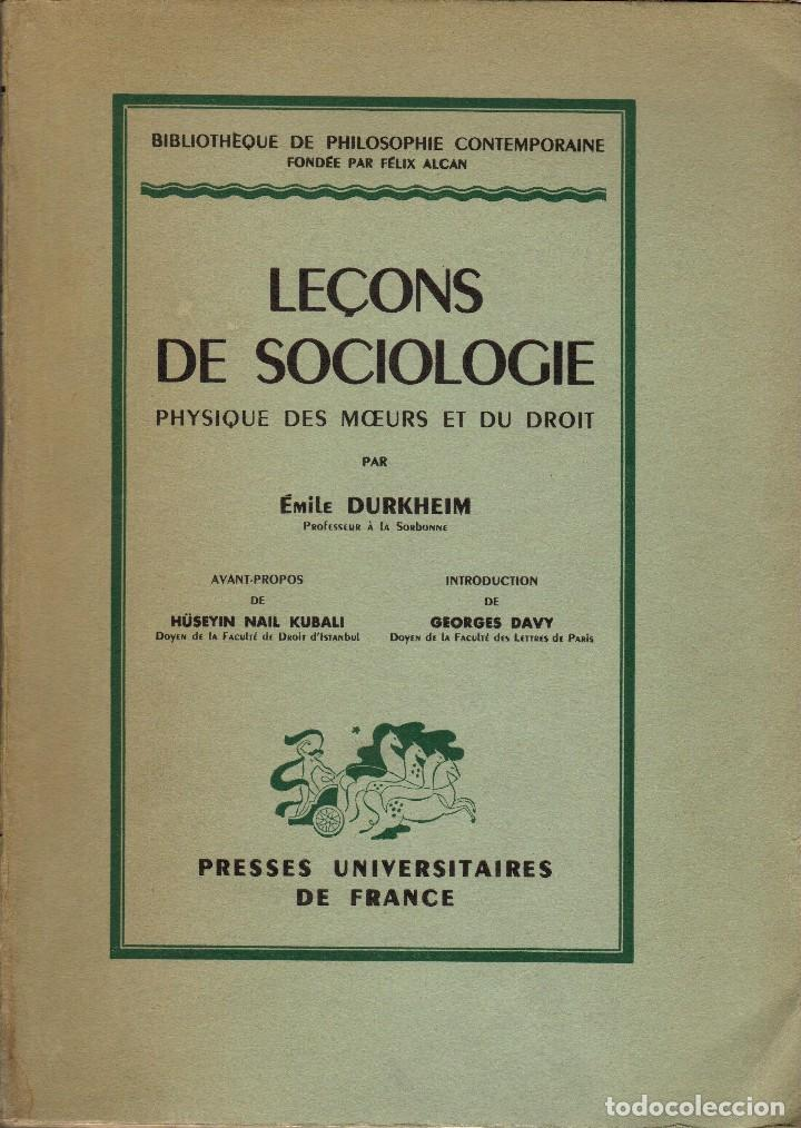 LEÇONS DE SOCIOLOGIE / ÉMILE DURKHEIM (1950) (Libros de Segunda Mano - Pensamiento - Sociología)
