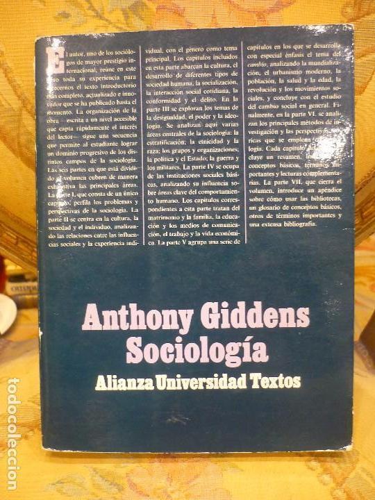 SOCIOLOGÍA, DE ANTHONY GIDDENS. ALIANZA UNIVERSIDAD 1.992. (Libros de Segunda Mano - Pensamiento - Sociología)