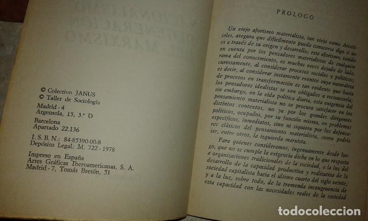 Libros de segunda mano: Nacionalismo, degeneración del Marxismo - Colectivo Janus - Raro - Taller de Sociología - 1978 - Foto 2 - 116900627