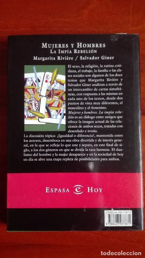 Libros de segunda mano: Margarita Riviere Salvador Giner Mujeres y hombres - Foto 2 - 117835795