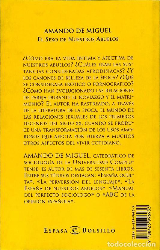 Libros de segunda mano: El sexo de nuestros abuelos - Amando de Miguel - Foto 2 - 133687922