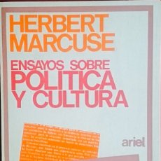 Libros de segunda mano: HERBERT MARCUSE. ENSAYOS SOBRE POLÍTICA Y CULTURA. HERBERT MARCUSE. PRÒL. MIQUEL SIGUAN. ARIEL.. Lote 134916391