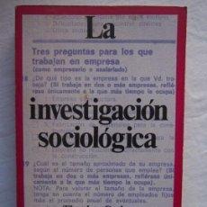 Libros de segunda mano: LA INVESTIGACIÓN SOCIOLÓGICA. THEODORE CAPLOW.. Lote 136576390