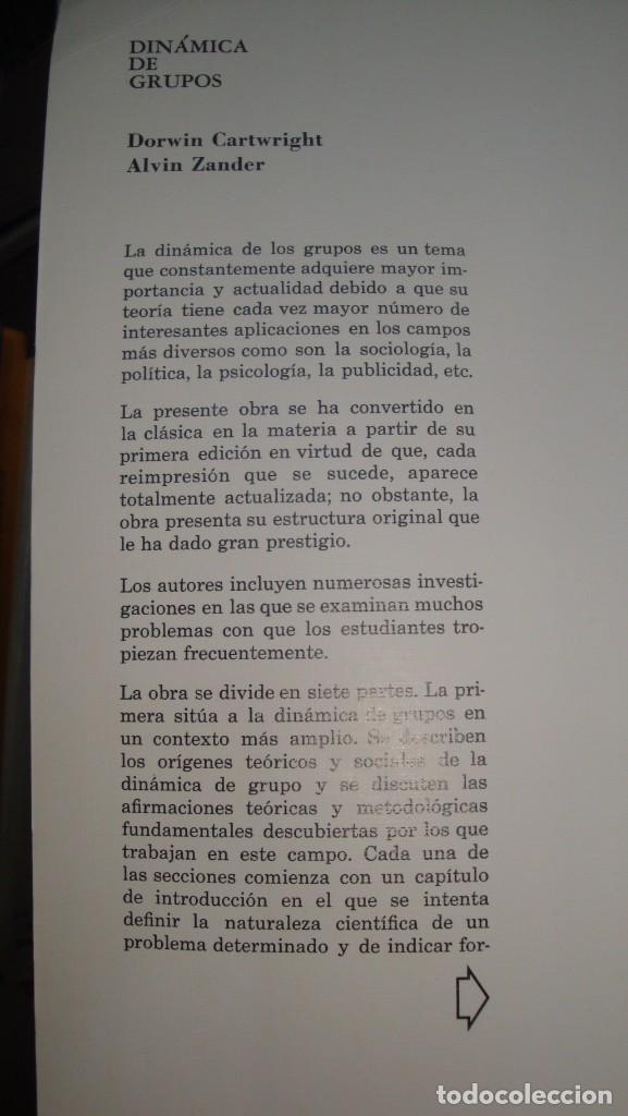 Libros de segunda mano: DINAMICA DE GRUPOS. INVESTIGACION Y TEORIA. CARTWRIGHT/ ZANDER - Dorwin/ Alvin. - - Foto 3 - 138554730