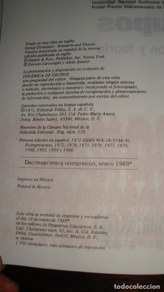 Libros de segunda mano: DINAMICA DE GRUPOS. INVESTIGACION Y TEORIA. CARTWRIGHT/ ZANDER - Dorwin/ Alvin. - - Foto 4 - 138554730