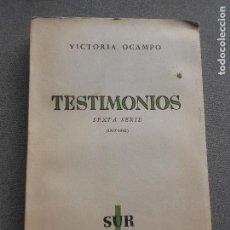 Libros de segunda mano: TESTIMONIOS. VICTORIA OCAMPO. Lote 138984818
