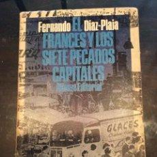 Libros de segunda mano: EL FRANCÉS Y LOS SIETE PECADOS CAPITALES - FERNANDO DIAZ-PLAJA. Lote 140602654