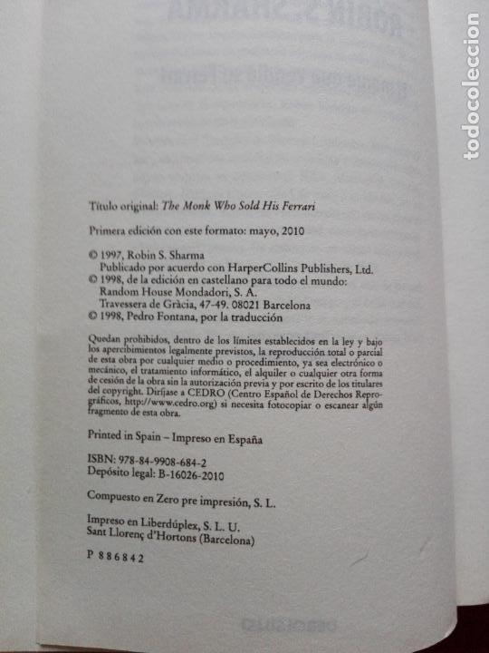 Libros de segunda mano: libro-el monje que vendió su ferrari-una fábula espiritual-robin s. sharma-debolsillo-2010- - Foto 5 - 141441486