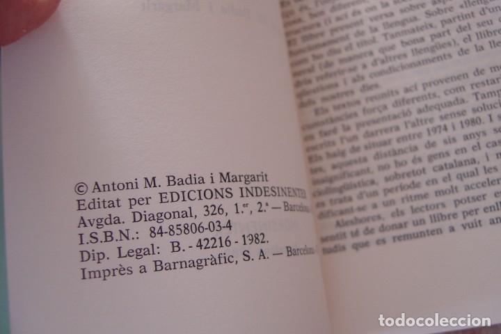 Libros de segunda mano: LLENGUA I SOCIETAT. ANTONI M. BADIA MARGARIT. CL.LECCIÓ ASSAIG 1982. EXCELENTE ESTADO. - Foto 3 - 144411954