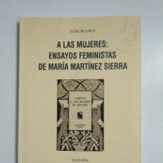 Libros de segunda mano: A LAS MUJERES: ENSAYOS FEMINISTAS DE MARÍA MARTÍNEZ SIERRA. ALDA BLANCO. IER. TDK353. Lote 145588886