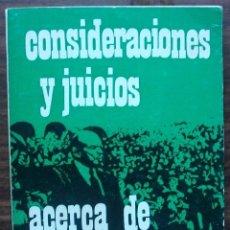 Libros de segunda mano: CONSIDERACIONES Y JUICIOS. ACERCA DE LA TERCERA INTERNACIONAL. Lote 148223242